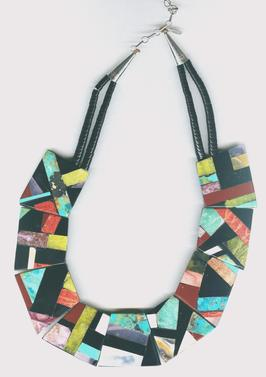 Bib necklace by Delbert Crespin with jet, turquoise, pipestone, serpentine, spiny oyster and other stones.